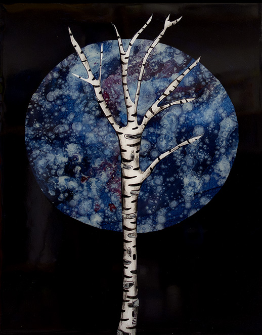 Winter Moon Oil, vinyl and ink on canvas, mounted on Foamex, with resin. 2014 Framed, 29 x 39 cm